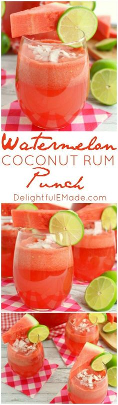 Watermelon Coconut Rum Punch #recipe #recipes #cocktail #summer #cocktails #cheers #party #drinks #rum