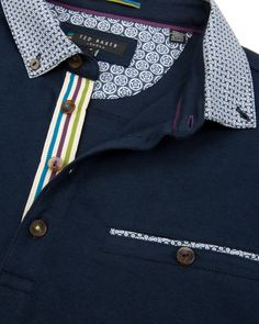 Printed collar polo - Navy | Tops & T-shirts | Ted Baker