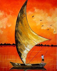 Love Birds Drawing, Love Birds Painting, Sailboat Art, Sailboat Painting, Watercolor Landscape, Landscape Paintings, Watercolor Paintings, Caribbean Art, Acrylic Wall Art