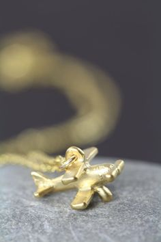 Airplane Necklace Gold - Propeller Cessna Charm 18K Gold Jewelry by Shiny Little Blessings.