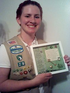 """Recently a leader posted a photo of a hand-made shadow box she made for one of her """"retiring"""" ambassadors.  It is so beautiful and a true gift!  The inspirational words are sure to remind this girl scout of her scouting days.  The hand-made nature of the gift makes it even more special.  Follow The Leader: Search results for Shadow box"""