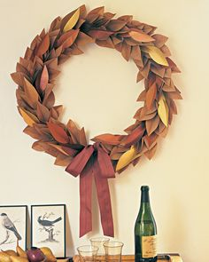 Long after the last leaves on the lawn have been raked away, this autumnal wreath will hold on to its crispness and color. Cut from kraft paper, the faux foliage is accented with additional leaves cut from shimmering metallic paper. The decoration can be hung year after year. When the season changes, store the wreath in a covered cardboard box until next year.