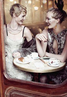 "Sasha Pivovarova & Gemma Ward / Vogue US September 2007 ""Paris, je t'aime"" by Steven Meisel"