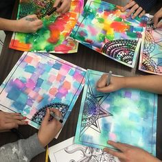 This 5th grade class started partial mandalas on their tissue stained background. They are great at detail work so I'm thrilled. See the…