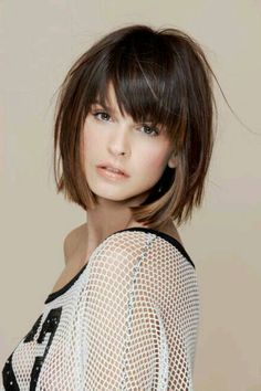 20 Short Straight Hairstyles with Bangs bob hairstyles with fringe - Bob Hairstyles Short Straight Hair, Short Hair With Bangs, Short Curly Hair, Short Hair Cuts, Curly Bangs, Hair Bangs, Short Pixie, Bob With Fringe Fine Hair, Medium Bob With Bangs