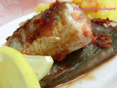 Rețetă Felul principal : Merluciu la cuptor de Elucubratiiculinare Thing 1, Fish And Seafood, Baked Potato, Pork, Potatoes, Chicken, Baking, Ethnic Recipes, Fine Dining