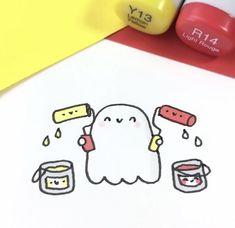 Kawaii Drawings, Easy Drawings, Pencil Drawings, Kawaii Doodles, Cute Doodles, Pen Art, Marker Art, Cute Halloween Drawings, Dibujos Anime Chibi
