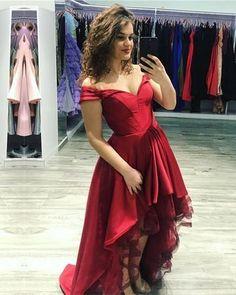 Sexy V-neck Off The Shoulder Prom Dresses Front Short Long Back ae2f70719998