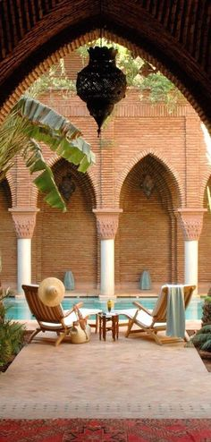 Laze by the pool at La Sultana, Marrakech with its beautiful moorish arched walls Moroccan Design, Moroccan Style, Riad Marrakech, Art Et Architecture, Morocco Travel, Visit Morocco, Hotels, Moorish, Dream Vacations