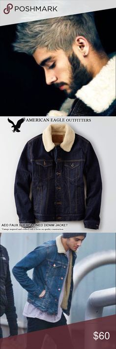 🔥AE (Zane Malik) SHERPA JEAN JACKET🔥 🔥THIS JACKET IS ON FIRE🔥 Jk, but this look is totally LIT! You're not dating Zayn?!? That's okay .....you can make your man look like him in this MASCULINE DARK WASH AMERICAN EAGLE SHERPA JEAN JACKET ⚡️Size is Medium but perfect for layering if he fits a size Small American Eagle Outfitters Jackets & Coats Bomber & Varsity