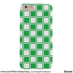 Green and White Outlined Squares Barely There iPhone 6 Plus Case