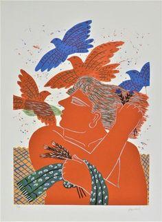 Come explore Alekos Fassianos's best artworks on Artsper. Buy Art Online, Gustav Klimt, Cool Artwork, Contemporary Artists, Rooster, Abstract Art, Original Art, Nerd, Presents