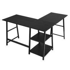 Shop Black Friday Deals on Carbon Loft Angband L-shaped Corner Computer Desk with Shelf - Overstock - 29204463 Computer Desk With Shelves, Desk Shelves, Desk Storage, Shelf, L Shaped Executive Desk, Black Desk, Black Wood, Black Corner Desk, Black White