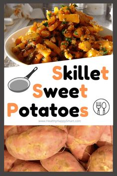 Sweet potatoes cooked up in a skillet with spices and seasonings. Sweet potatoes cooked up in a skillet with spices and seasonings. Clean Dinner Recipes, Clean Eating Dinner, Raw Vegan Recipes, Healthy Recipes, Sweet Potato Recipes, Side Dishes Easy, Slow Cooker Recipes, Skillet Recipes, Food Dishes