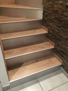 Habillage BOIS - Marches balancées et droite sur escalier béton ...