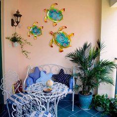 Patio Wall Decor, Metal Wall Decor, Wall Art Decor, Outdoor Walls, Outdoor Spaces, Outdoor Living, Outdoor Beach Decor, Pool Ideas, Patio Ideas