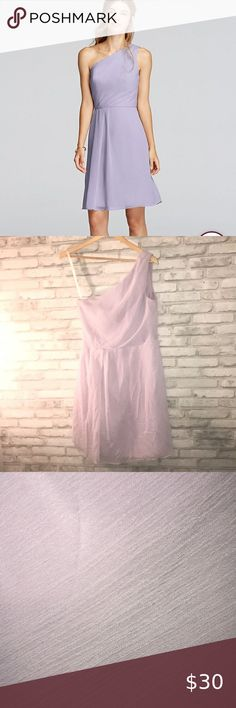 Davids Bridal Crinkle Chiffon Short Dress In lilac no visible stains but nee Lilac Bridesmaid Dresses, Davids Bridal Dresses, Wedding Dresses, Bodice, Neckline, Chiffon Dress, Short Dresses, Dress Up, Stains