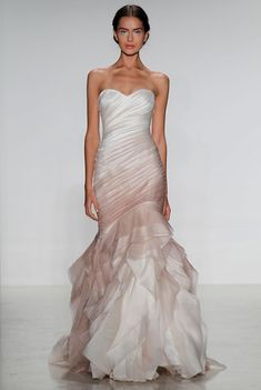 Ombre pink wedding gown from @kellyfaetanini