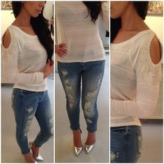 Ivory Crochet Open Shoulder Sweater and Denim Ripped Jeans