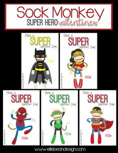 Sock Monkey SuperHero Valentine's | Over the Big Moon