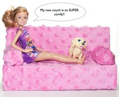 I think it's about time Barbie got a couch worthy of sitting on. Don't you? Kind of like this super fashionable, plush, pink Barbie sofa! Because of the quality in the design and fabulous fabric , she thinks that this Barbie furniture came from a fancy department store, but it was really made out of …