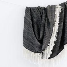 Black Throw Blanket with White Fringe