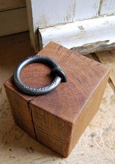 personalised oak doorstop by alex pole ironwork | notonthehighstreet.com