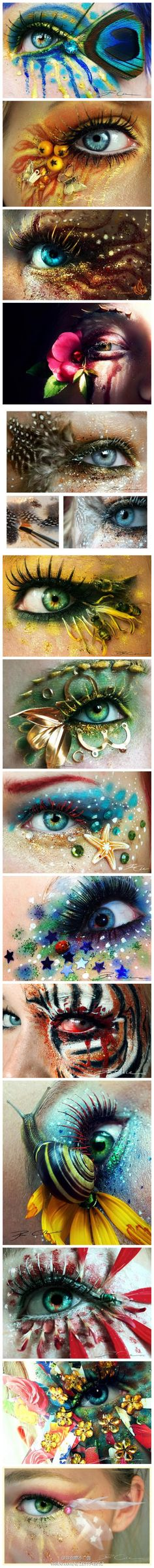 Great creative eye makeup kinda creepy but still cool! Eye Makeup Art, Eye Art, Beauty Makeup, Fantasy Make Up, Behind Blue Eyes, Special Effects Makeup, Crazy Makeup, Costume Makeup, Creative Makeup