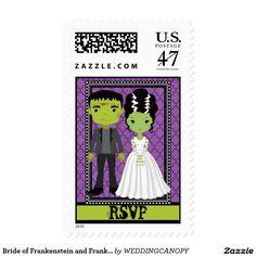 Bride of Frankenstein and Frankenstein Halloween Stamp