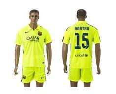 Barcelona #15 Bartra Away Soccer Club Jersey