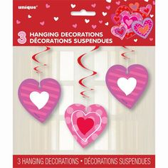 Hanging I Heart Valentine Decorations, 3ct