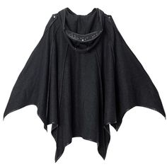 Black Wool Hooded Gothic Night Bat Cloak Clothing Men Women SKU-11401206
