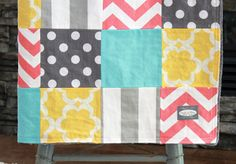 Baby Blanket Modern Baby Quilt  Yellow Coral Aqua by GiggleSixBaby, $90.00 LOVE THIS QUILT