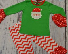 PERSONALIZED Old Saint Nick Santa Claus Outfit, Long Sleeve Ruffle Shirt & Ruffle Pant Set, Toddler Girl Christmas Outfit, Ready to Ship