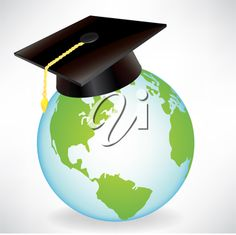earth globe with graduation cap isolated on white