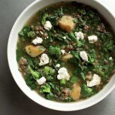 Very Green Lentil Soup Recipe by Anna Thomas, eatingwell: Lentils seem to go with just about anything, and here they play well with a collection of greens and some cumin and coriander to add a gentle spicy note to this soup recipe. The result is a hearty winter soup with layers of flavor. Try green lentils which hold their shape better when cooked than the brown ones. #Soup #Lentil #Healthy