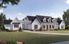 Plan Country Classic With Porte Cochere Accessible Motor Court Modern Farmhouse Plans, Farmhouse Design, Farmhouse Style, Italian Farmhouse, Farmhouse Ideas, Rustic Farmhouse, Porte Cochere, White Siding, Family House Plans