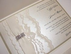 Lace and Crystal Wedding Invitations | Lavender Paperie