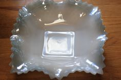 Lovely milk glass w/hobnail - dish with blue glaze around the edges by StonesThrowTreasures on Etsy