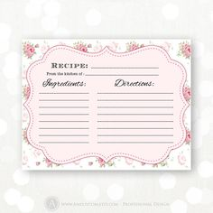 New rustic bridal shower ideas diy recipe cards 66 ideas Shabby Chic Flowers, Shabby Chic Pink, Retro Flowers, Vintage Shabby Chic, Retro Vintage, Vintage Kitchen, Vintage Style, Simple Bridal Shower, Bridal Shower Rustic