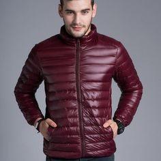1d5bda5ded2 Pánská moderní podzimní zimní bunda lesklá bordová – Velikost L Na tento  produkt se vztahuje nejen