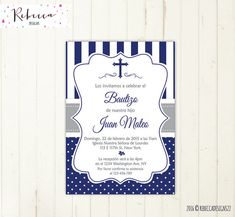 Invitation christening boy blue printable first communion invitation boy baptism invitation in spanish comunion in spanish digital file 178 - invates First Communion Invitations, Christening Invitations, Boys First Communion, Boy Baptism, Party Items, Favor Tags, Party Printables, Event Planning, Thank You Cards