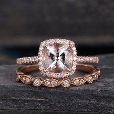 Rose Gold Engagement Ring Morganite Ring Bridal Set Halo Diamond Cushion Cut Wedding Ring Anniversary Gift For Her Women Half Eternity by SzekiStudio on Etsy https://www.etsy.com/listing/526716556/rose-gold-engagement-ring-morganite-ring #cushioncutengagementrings