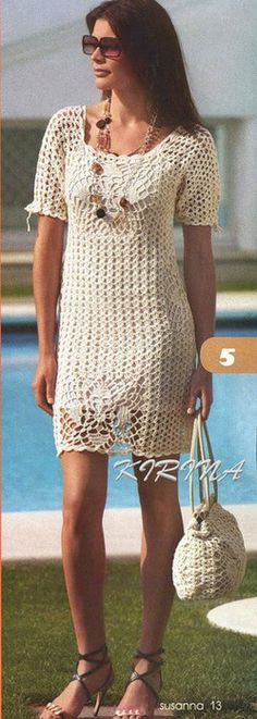 So pretty, can't read the pattern, it's too small & foreign.   Crochet golden dress and bag!
