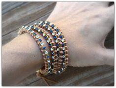 SALE. Swarovski Crystal Sapphire and Crystal Vintage Wrap Bracelet by LoveDesignsBoutique on Etsy