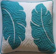 """2 Hawaiian Quilt Pillow Covers, Cushions, 100% Hand Quilted/hand Appliqued 18"""" Hawaiian Quilt Wholesale,http://www.amazon.com/dp/B00FJ92HWQ/ref=cm_sw_r_pi_dp_avHktb0HMN37MP4J"""