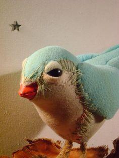 Birdy Big Bird mixed media turquesaTextil by ValeriaDalmon on Etsy