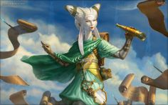 The Greatest Magic: The Gathering Art of All Time Tamiyo, the Moon Sage - Eric Deschamps  There are so many little details that make this a great image of one of the strange, Asian-flavored moonfolk.