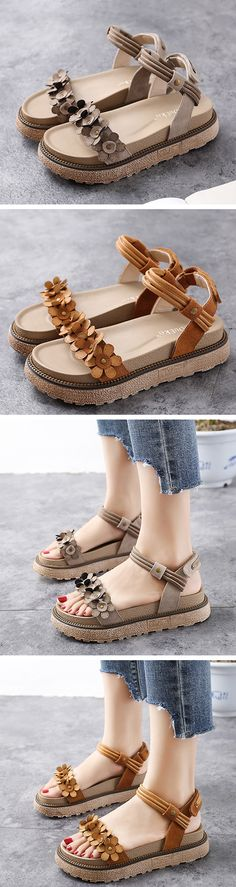 US$43.62  Large Size Flower Hook Loop Vintage Sandals