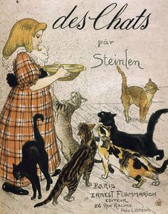 """The wonderful """"Des Chats, Images sans paroles,"""" published in 1898 by Théophile Alexandre Steinlen ~ a large folio of 26 plates  featuring humorous cartoon sequences of playful cats getting into all sorts of trouble.  #art #illustration"""